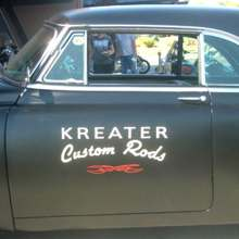 1950 Chevy sedan with 50's style hand lettering. Kreater Custom Rods